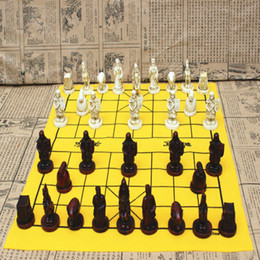 Wholesale Toys Free International Shipping - HOT Vintage Chinese Chess, Leather Chess Terracotta Warriors and Horses Large Chinese Chess Chess Christmas Gifts, Free Shipping