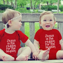 """Wholesale Baby Jesus - """" Jesus Is The Reason For The Season """" INS Summer Letter print infant baby red black rompers 0-2years free ship"""