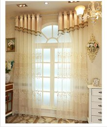 Wholesale Cotton Curtains - High quality Korean leaves Relief embroidered Window sheer Curtains Tulle voile for wedding Living Room Bedroom 1pcs wholesale fabric price