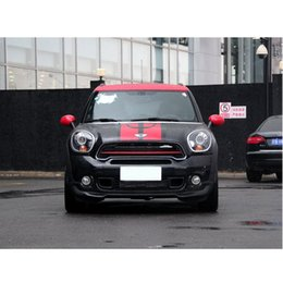 Wholesale Vinyl Hood Decal - Wholesale- Red Racing Stripes Hood Trunk Rear Decal Sticker for MINI Cooper Countryman 2013-2016
