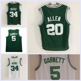 Wholesale Maurice White - 2017 New Paul Pierce Kevin Maurice Garnett Ray Allen Basketball Jersey stitched Mesh White Green Jerseys Embroidery Logos Free Shipping