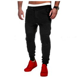 Wholesale Men S Casual Slim Trousers - Wholesale- Warm Mens Thick Pants Bodyboulding Hip Hop Clothing Street Patchwork Trousers Fitness Jogger Sweatpants Casual Slim Fit Pants D