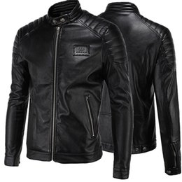 Wholesale Black Leather Jackets For Men - Leather Jackets for Men 2017 High-end Locomotive Zipper Slim Fit Long Sleeves Stand Collar Men's Leather Jackets US Size:XS-XXXL