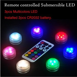 Wholesale Diamond Candles - RGB Mini led diamond lamp 3 led patch waterproof IP68 candle light remote control colorful diving light night light 7 color control