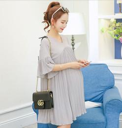Wholesale Maternity Chiffon Shirt Pregnant Women - 2017 New Maternity Dress V-Neck Chiffon Dress Cloth for Pregnant Women Fashion Loose Long Pregnancy T-shirt Pleated A Line Dress