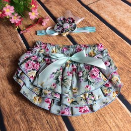Wholesale Ruffle Children Clothing - Everweekend Baby Girls Floral Ruffles PP Pants with Flower Headbands Candy Color Sweet Children Summer Clothing