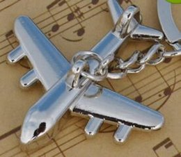 Wholesale Metal Model Fighter Plane - New Alloy Metal small plane Key chain 3D plane Model Aircraft Keyfob Battleplane fighter plane Key Holder airplane 4Styles