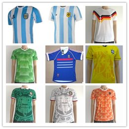 Wholesale Mexico Soccer World Cup Jersey - Soccer Jersey France 1998 World Cup Retro Football Shirts Mexico 1988 Green Shirts Netherland Germanys Argentina Brazil Retro Jersey Beckham