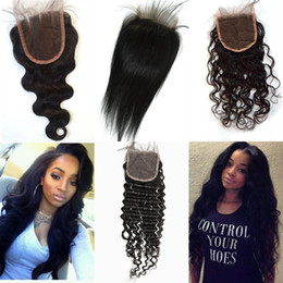 Wholesale Straight Human Hair Closure - Brazilian Human Hair Closure 4*4 water wave peruvian hair deep wave body wave straight bleached knots free part swiss lace closure G-EASY