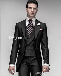 Wholesale pinstripe mens clothing - Shiny Black One Button Groom Tuxedos Peak Lapel Best Man Mens Blazer Wedding Clothing Prom Suit (Jacket+Pants+Vest)