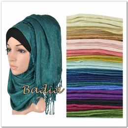 Wholesale Scarves Shimmer - Wholesale- one shimmer solid plain glitter hijab scarf shinny metallic long scarves tassel muslim viscose lurex shawl islamic head wraps