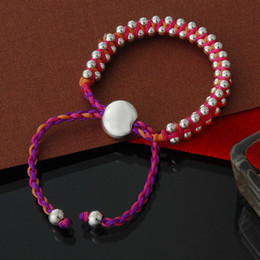 Wholesale Multi Bead Link Bracelet - Adjustable Links Bracelet Multi Color Beautiful Braided Hemp Red Rope Woven Hand Made Plated Silver Beads Fashion Gifts SS000107