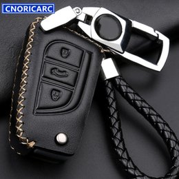 Wholesale Key For Toyota Corolla - Genuine Leather Men's Key Case For Toyota Corolla RAV4 Highlander Crown Original Car Smart Key Protect Cover Fashion Keychain