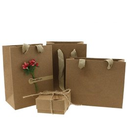 Wholesale Kraft Paper Pouches Wholesale - XS Vintage Brown Kraft Paper Bag Gift Jewelry Packaging Hand Carry Shopping Bags Can Be Printed Logo Size 15*6*12 & 11.5*7*15.5
