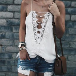 Wholesale Lace Camisoles For Women - Sexy V Neck Camisoles For Ladies Tank Top 2018 Women Tops Black White Summer Style Camis Lace Patchwork Hollow Back Cami Top Spaghetti