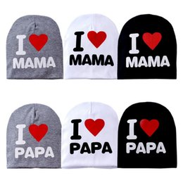 Wholesale wholesale toddler beanies - Baby hat knitted warm cotton toddler beanie baby cap kids girl boy I LOVE PAPA MAMA print kid hats