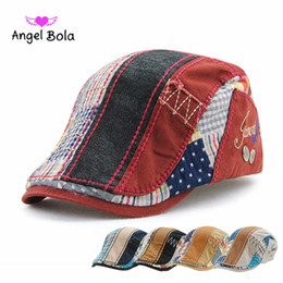 Wholesale Vintage Sun Visor - Angel Bola Luxury Brand Beret Hat Sun Visors Summer Vintage Cap for Men Women Driving Sun Flat Hat Cotton Male Beret Adjustable