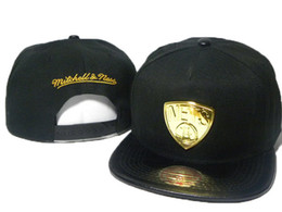 Wholesale Men Snapback Mitchell Ness - Free Shipping Black Men Snapback caps metal logo football mitchell &ness Snapback Hats sports team hats Men and Women Caps 5 styles DD