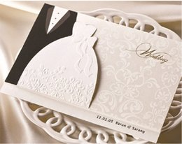 Wholesale wedding dress invitations - Wholesale- Heat the groom and the bride's dress western-style wedding invitation card, 100 PCS lot