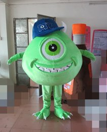 Wholesale Mike Wazowski Mascot Costume - Green Mike Wazowski Monster Mascot Costume Fancy Birthday Party Dress Halloween Carnivals Costumes With High Quality For Adult