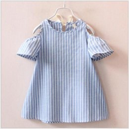 Wholesale Wholesale Beach Lanterns - New brief style girls dress 100% cotton striped vestido infant toddler outfit summer children clothing baby party dresses A-line for girls