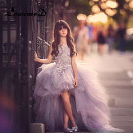 Wholesale Baby Pageant Dress Organza - Lavender Flower Girl Dresses Kids Girl Ball Gown Pageant Gowns Baby Prom Dress