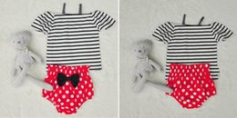 Wholesale Sleeveless T Shirts For Babies - Retail Ins Baby Girls Clothing Sets Stripe Off Shoulder T shirt+Dots Shorts Two Piece suit for summer childrens clothes 17028