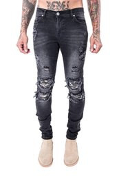 Wholesale Hot Cotton Brand Capris - Wholesale- 2017 New Hot sell high quality cotton cozy men's high street tide brand biker jeans male Leather fight fashion station pants