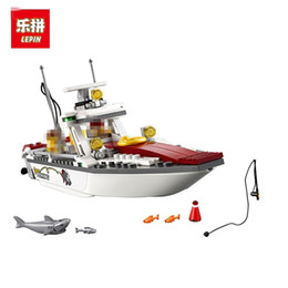 Wholesale Toy City Buildings - LEPIN 02028 City Maritime Fishing Boat Assembly Building Blocks Bricks Toys Children Gift Brinquedos Compatible City 60147