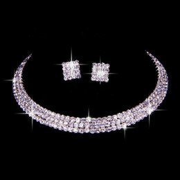 Wholesale Homecoming Jewelry - 100% Same as Image Classic Rhinestone Jewelry Set Wedding Bridal Necklace and Earrings Photo Bride Evening Prom Party Homecoming Accessories