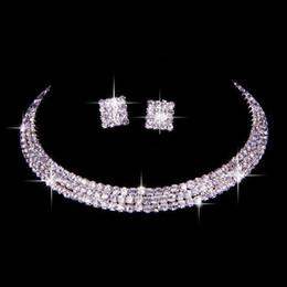Argentina 100% Igual que la imagen Conjunto clásico de joyas de diamantes de imitación boda nupcial collar y pendientes foto novia por la noche fiesta de graduación regreso a casa accesorios Suministro