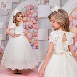Wholesale Hand Made For Baby - Short Sleeves Wedding Flower Girl Dresses Tulle Baby Child Birthday Holy Communion Dresses For Girls Lace Up Open Back Custom Made 2017
