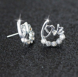Wholesale Silver Ball Piercing - Bridal Jewelry 2017 new clover anti allergy star moon love Silver Diamond pierced earrings cheap shipping type