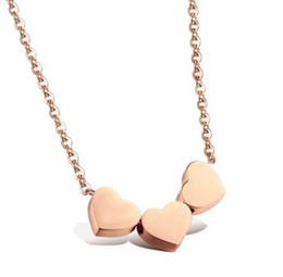Wholesale Three Linked Hearts Necklace - Wholesale New Arrival High Quality 3 Colors Three Love Heart Alloy Necklace Bone Chain Jewelry Gift