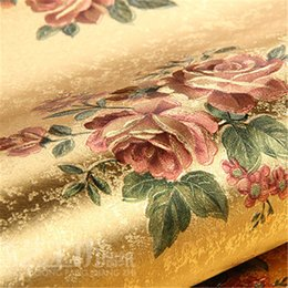Wholesale Household Foil - Wholesale-papel de parede. Rose flower gold foil wallpaper gold embossed background wall wallpaper classic flower wall papers floral for c