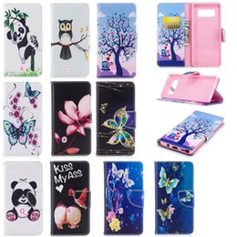 Wholesale Stand Holder Pouch Case - Flower Butterfly Leather Wallet Case For Galaxy Note8 Note 8 Panda Owl Tree Phone Stand Holder TPU Card Slot Flip Skin Stylish Floral Soft