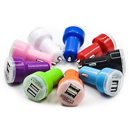 Wholesale Auto Volts - 2000X Candy dual usb car charger Auto Charger Adapter for iPod iPhone 4 5 5C 5S Samsung HTC iPod iPad Blue LED Candy Color