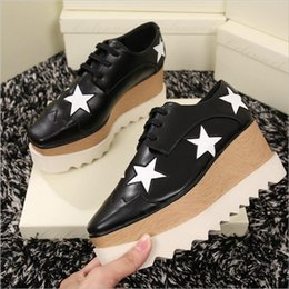 Wholesale Platform Wedges Sale - wholesale Lady star platform shoes, 100% genuine leather wedge square toe shoes,hot sale height increasing star shoes beige 35-41