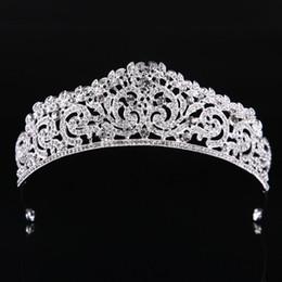 Coronas de baile de calidad online-Moda de Alta Calidad Exquisito Cristal Nupcial Corona 2019 Mujeres Pageant Prom Tiaras Accesorios de Joyería Del Pelo Tocado