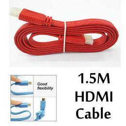 Velocidad xbox online-1.5M HDMI a HDMI Cable Masculino Flat Noodle 24K AV de alta velocidad Audio Video Wire 1.4 Versión para HDTV Digital XBOX