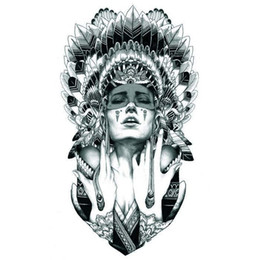 Wholesale Tribal Tattoo Ship - Wholesale- Queen of Spades Temporary Tattoo Tribal Indian Temporary Tattoos for Girls Body Art Free Shipping AX71 Cheap Fake Tattoos