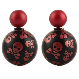 Wholesale Double Skull Earring - Wholesale Fashion Earrings 2016 Aros Skull Spherical Shape Women Double Pearl Earrings Multi-Color Small earrings E1566-E1568