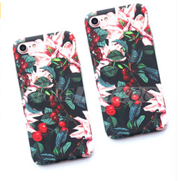 Wholesale Cherry Phones - Classical Cherry Floral Phone Cases For iPhone 7 6 7 6s Plus Flower Leaves Case Hard PC Full Back Cover Capa