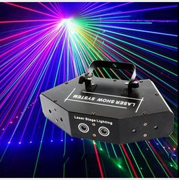 Wholesale Lasers For Stage Lighting - New arrive Fan-shaped six-eye scanning RGB laser light for DJ disco club stage effect light with vce control party