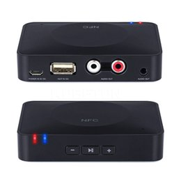 Wholesale Bluetooth Adaptors - Wholesale- 2016 NEW NFC 3.5mm USB Bluetooth Wireless Stereo AUX Audio Speaker Receiver Adapter adaptor for Sound System