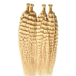 Wholesale Curly Stick Tip Hair Extensions - 613 blonde virgin hair kinky curly 200g 1g strand 200s Pre-Bonded Stick I-Tip Hair Extensions keratin capsule hair extension keratin