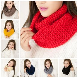 Wholesale Cotton Knit Scarves - New Fashion Women's Girl's Winter Ring Scarf Scarves Wrap Shawls Warm Knitted Neck Circle Cowl Snood For 11 colors