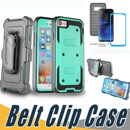 Wholesale Cover For Alcatel - Armor Hybrid Shockproof Kickstand Case With Belt Clip and Screen Cover For iPhone X 8 7 6 6S Plus 5 5S Alcatel Idol4 Fierce4 TUR BLU R1 HD