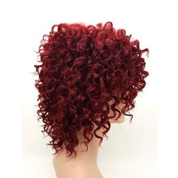 Wholesale Curly Wigs For White Women - African American Afro Kinky Curly Short Wigs for Black And White Women Rihanna Hairstyle Burgundy Red Pelucas Perruque Afro Perucas 1179A