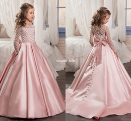 Wholesale Little Black Girls Formal Pageant Dresses - Peach Flower Girl Dresses With Long Sleeves Tutu For Girls 2017 Cute Formal Wear First Communion Dress Little Kids Child Pageant Party Gowns